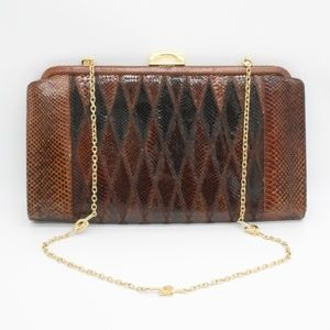 Vintage Red Brown Snake Skin Leather Clutch Purse